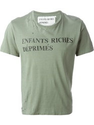 Enfants Riches Deprimes Slogan Print Distressed T Shirt