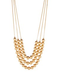 Lydell Nyc Long Triple Strand Beaded Necklace Gold