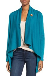 Bobeau Women's One Button Fleece Wrap Cardigan Teal Green