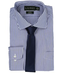 Lauren Ralph Lauren Bengal Stripe Spread Collar Slim Button Down Shirt Blue White Men's Long Sleeve Button Up