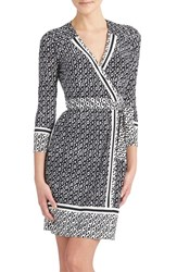 Petite Women's Donna Morgan Print Jersey Wrap Dress Black White Cap