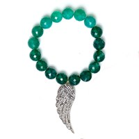 Nush Stretch Beaded Green Onyx Bracelet With Diamond Wing Pendant