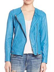 Rebecca Taylor Washed Leather Jacket Lagoon