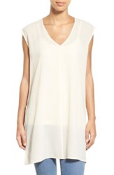 Women's Bobeau Side Slit V Neck Tunic
