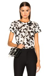 Proenza Schouler Printed Jersey Short Sleeve Tee In Black White Floral Black White Floral
