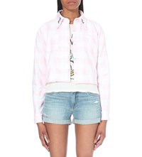 Local Heroes Girls Rock Cropped Gingham Shirt Pink White Check
