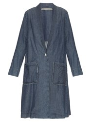 Raquel Allegra Shawl Lapel Chambray Denim Duster Coat Blue