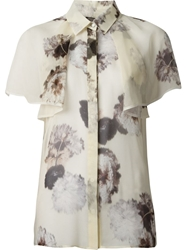 Giambattista Valli Floral Butterfly Sleeves Blouse Nude And Neutrals