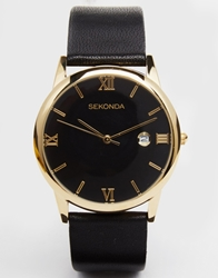 Sekonda Leather Strap Watch With Gold Plated Dial Black