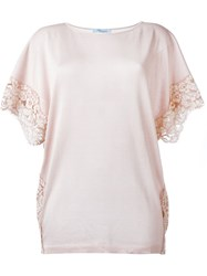 Blumarine Lace Details T Shirt Pink And Purple