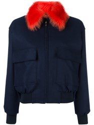 Paul Smith Cropped Bomber Jacket Blue