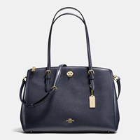 Coach Turnlock Carryall In Crossgrain Leather Light Gold Navy