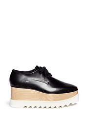 Stella Mccartney 'Britt' Faux Leather Wood Platform Derbies Black