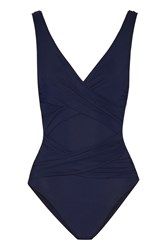 Karla Colletto Smart Ruched Swimsuit Navy