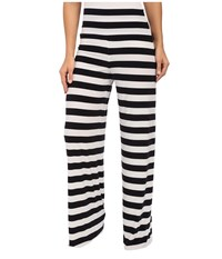 Norma Kamali Straight Leg Pants Go Midnight White Stripe Women's Casual Pants Black