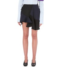 Jacquemus La Jupe Volants Virgin Wool And Cotton Blend Mini Skirt Navy