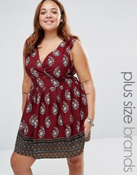 Yumi Plus Skater Dress With Tie Back In Border Print Burgundy Red