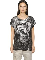 Diesel Wolves Print Cotton Blend Jersey T Shirt
