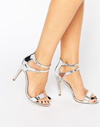New Look Strappy Metallic Heeled Sandal Silver
