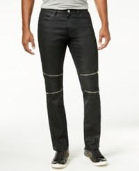 Calvin Klein Ck One Men's Slim Fit Black Wash Multi Zipper Jeans