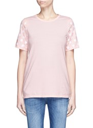 Clu Too Flocked Polka Dot Sleeve Jersey T Shirt Pink