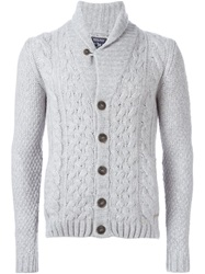 Cable Knit Buttoned Cardigan Grey