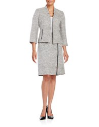 Nipon Boutique Tweed Open Front Jacket Grey Frost