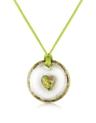 House Of Murano Round Murano Glass Pendant W Green Lace
