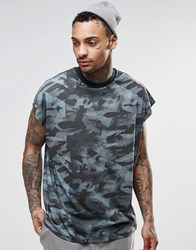 Asos Oversized Sleeveless T Shirt In Painted Camo With Wide Neck Trim Blue
