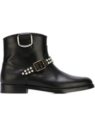 Saint Laurent Motorcycle Flat Boots Black
