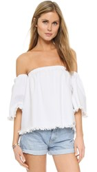 J.O.A. Frayed Denim Cold Shoulder Blouse White