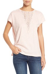 Women's Two By Vince Camuto Lace Inset Dolman Sleeve Cotton Top Pink Balm