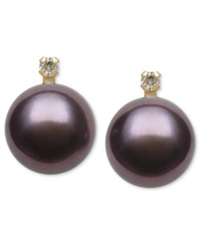 Belle De Mer 14K Gold Earrings Dyed Black Cultured Freshwater Pearl 9Mm And Diamond Accent Stud Earrings