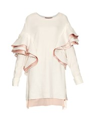 Sies Marjan Ruffled Satin Back Striped Top Pink White
