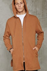 Forever 21 Longline Zip Up Hoodie Brown