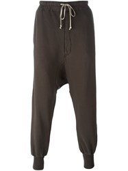 Rick Owens Drkshdw Drop Crotch Track Pants Brown