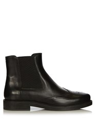Tod's Leather Brogue Chelsea Boots Black