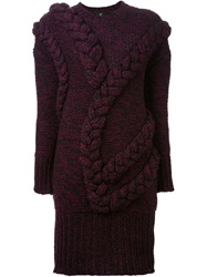 Le Ciel Bleu Braided Detail Sweater Dress Pink And Purple