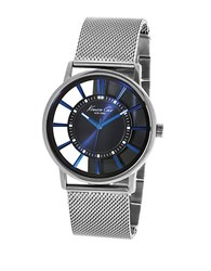 Kenneth Cole Mens Stainless Steel Contrast Watch Silver