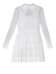 Saint Laurent Lace Panel Pin Tuck Pleated Dress