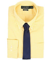 Lauren Ralph Lauren Classic Button Down With Pocket Dress Shirt Yellow White Men's Long Sleeve Button Up