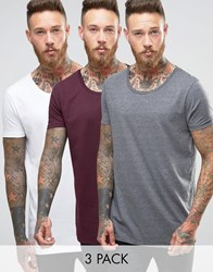 Asos 3 Pack Longline T Shirt With Raw Scoop Neck In White Charcoal Oxblood Wht Charcoal Oxblood Multi