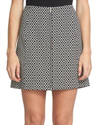 1.State Front Zip Patterned Skirt Black