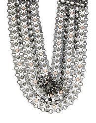Nanette Lepore Crystal And Faux Pearl Choker Necklace Silver