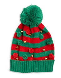 Collection 18 Striped Jingle Bell Hat Green