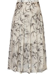 Rochas Pleated Swallow Print Skirt Nude And Neutrals