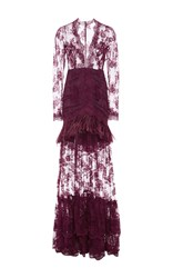 Costarellos Marabou Feathers And Chantilly Lace Long Dress Burgundy