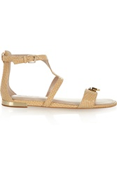 Dkny Faylin Snake Effect Coated Suede Sandals