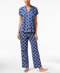 Charter Club Satin Trimmed Printed Pajama Set Only At Macy's Blue Grid