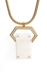 Rachel Zoe Jewel Rivet Pendant Necklace Gold White Resin